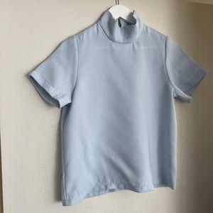 ASOS Light Blue Turtleneck Short Sleeve Shirt